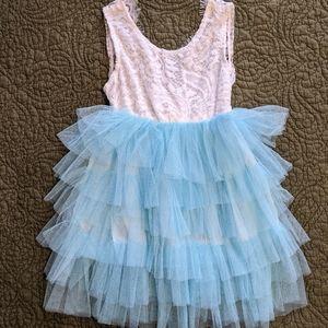 White & Blue Girls Dress 110 (2T)